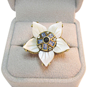 SALE Signed Heidi Daus MOP Flower Ring Light Blue Baguette Rhinestones Vintage