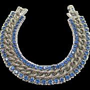 SALE Huge Price Reductions!!  Signed Kramer Blue Rhinestone Bracelet Vintage