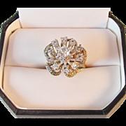 SALE Panetta Sterling Vermeil Rhinestones Vintage Cocktail Ring