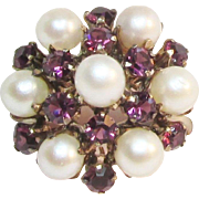 SALE Antique Pearl Amethyst 9K Princess Ring
