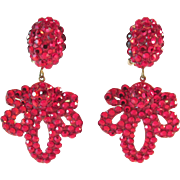 SALE 20% Off Everything!!  Richard Kerr Ruby Red Rhinestone Earrings Vintage Outrageous!!