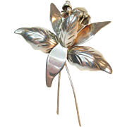 SALE Sterling Orchid Flower Mexico Signed Vintage 11 Grams