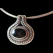 SALE Stunning Black Onyx Sterling Pendant Vintage