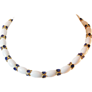 SALE Huge Price Reductions!!  Lovely Crown Trifari White Lucite & Blue Enamel Choker Necklace