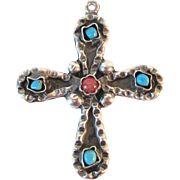 SALE Signed Mexico Large Turquoise Coral Sterling Cross Pendant Vintage