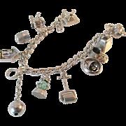WWII Era Signed 5 Walter Lampl Charms, 1 Book Piece Vintage Sterling Bracelet