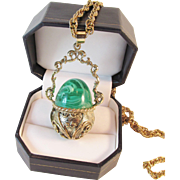 SALE Huge Price Reductions!!  Whiting & Davis Green Glass Cauldron Pendant and Necklace Vintag