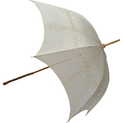 Edwardian Parasol with Linen Canopy with Cutwork Embroidery