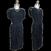SALE 1940's Black Beaded Rayon Swing Dress