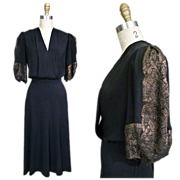 1930s Black Rayon Dress with Gold Lame Brocade Sleeves