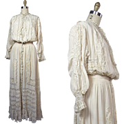 Edwardian Neulander Chicago Silk and Lace Pouter Pigeon S-Bend Silhouette Gown