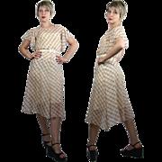SALE 1930s Plaid Bias Cut Cotton Organdy Day Dress XS/S