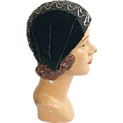 1920s Cloche Deep Green Velvet With Burnish Golden Metal trim and Sequins