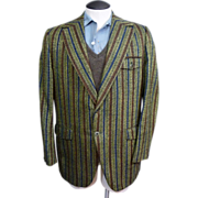 Mens Vintage Late 1960s to Early 1970s Ratner of California Striped Blazer