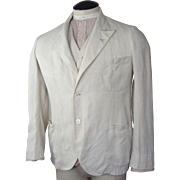 SOLD 1920s Mens Linen Blazer and Vest Belfast Crash Exclusive Linen Importations