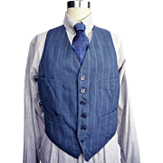 Mens Vintage 1930s Blue Pinstripe Vest Waistcoat