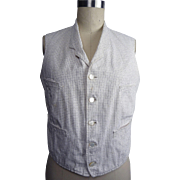 Late Victorian to Early Edwardian Single Breasted White with Black Mini Plaid Cotton Waistcoat