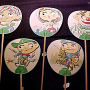 SALE Rare Vintage Bamboo Fans with Googly Eyes Japan