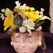Lady Head Vase with Hair and Glasses