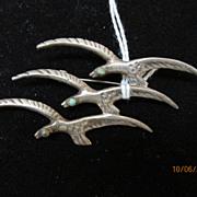 Jewelry Vintage Mexican Silver Brooch Birds