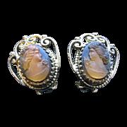 Vintage Estate Whiting & Davis Cameo Earrings