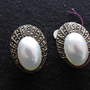 Vintage Estate Marquesite Earrings with Faux Pearl