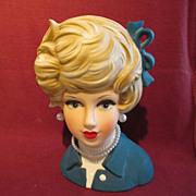 "Napcoware Lady Head Vase 7"" Blue"