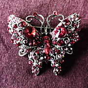 Fine Swarovski Crystal Butterfly Brooch Pin