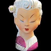 Vintage Lady Head Vase Asian