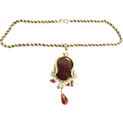 Vintage Large Deco Red Pendant on Chain