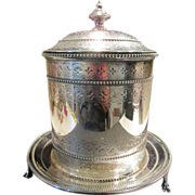 Decorative Antique Biscuit Box / Barrel Silver Plated