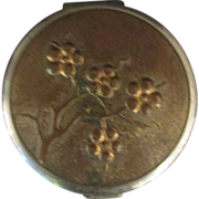 Vintage Two Tone  Metal Ladies Compact with Floral Design
