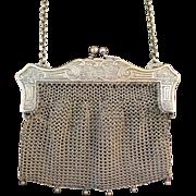 Vintage German Silver Ornate Frame Purse Handbag