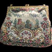 Scenic Castle Petit Point Vintage Handbag Purse France