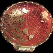 Vintage Shell Shape Silver Resist Serving Piece Floral Design