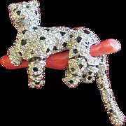 Swarovski Crystal Panther on Coral Brooch Pin