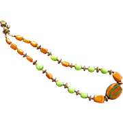 Vintage Miriam Haskell Multi Color Stone Necklace Signed