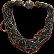 Vintage Jet Black Faceted Beaded 22 Strand Necklace