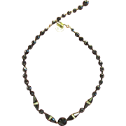 Vintage Faceted Jet Black Glass Choker Necklace Rhinestones