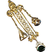 Fabulous Vintage Chatelaine with Stones & Initial Stamp Fobs