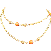 """Fabulous Miriam Haskell Chain with Coral Glass Beads 50"""" Long"""