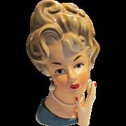 "S. S. Ardco Lady Head Vase with Hand 7.5"""