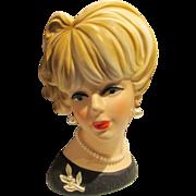 """Vintage Lady Head Vase  7.5"""" Napcoware"""