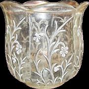 Pink Depression Glass Floral Design Candy Dish Bowl Vintage