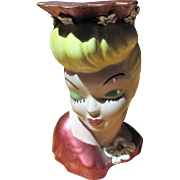 Lady Head Vase w/ Pink Iridescent Dress & Hat S.S.