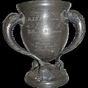SOLD Antique Horse Show Tri Handle Trophy Cup 1909