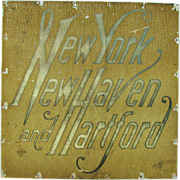 Vintage New York Train Sign Painted Stainless Steel