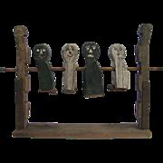 Antique Carnival Targets Carved and Painted Wooden Folk Art Primitives