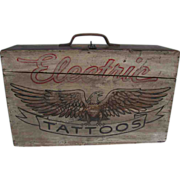 Vintage Wooden Patriotic Folk Art Painted Travel Electric Tattoo Case