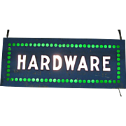 Vintage Lighted Hardware Trade Sign